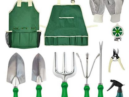 11Pcs Heavy Duty Gardening Tools Equipment with Tote Bag Adjustable and Apron, Garden Gifts for Women - GardenHOME Garden Tools Set