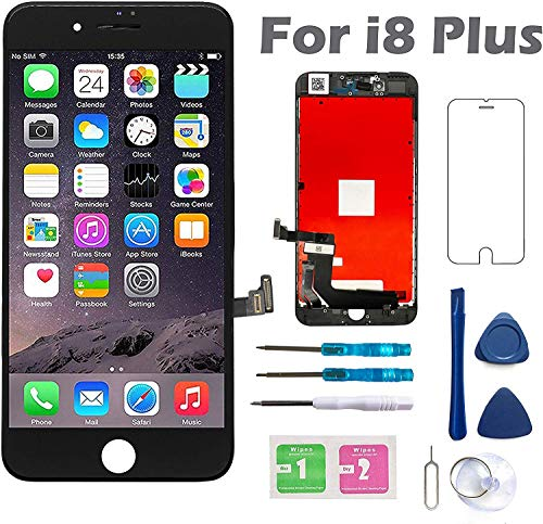 Screen Replacement for iPhone 8 Plus 5.5 Inch LCD 3D Touch Screen Digitizer Display with Free Repair Tool Kits A1864 A1897 A1898 Black
