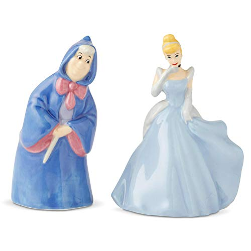 Enesco 6003745 Disney Ceramics Cinderella and Fairy Godmother Salt and Pepper Shakers, 3.5 Inch, Multicolor