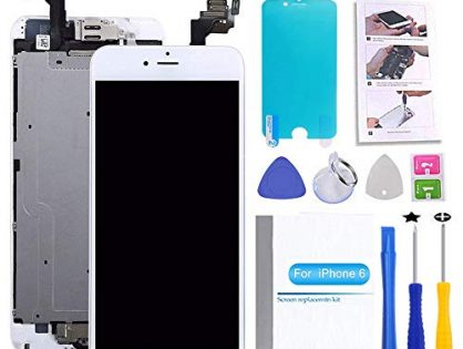 Screen Replacement Compatible iPhone 6 White 4.7inch LCD Display Touch Digitizer Assembly Repair Kit & Home Button,Ear Speaker, Front Camera,Proximity Sensor ,Repair Tools