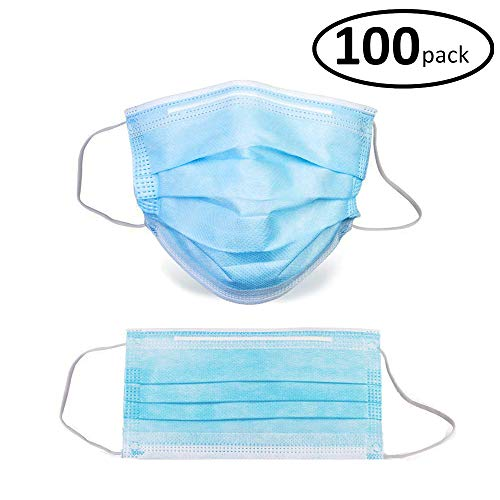 Sterile Field 100 Pack Disposable Face Masks with Elastic Ear Loop, 3 Ply Breathable and Comfortable for Blocking Dust Air Pollution Flu Protection Blue