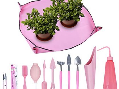 Homend 1 Pcs Garden Kneelers Work Cloth Anti Dirty Gardening Transplanting Pot Pad with 11 Pieces Mini Garden Hand Transplanting Succulent Tools for Indoor Garden Plant Care 11 PCS/Set,Pink