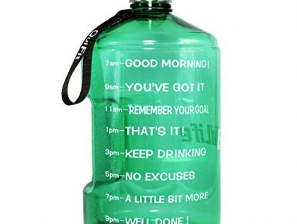 BuildLife 43 OZ1.3L Water Bottle Motivational Fitness Workout with Time Marker/Drink More Daily/Clear BPA Free/Large Capacity Throughout The DayLight Green, 43OZ