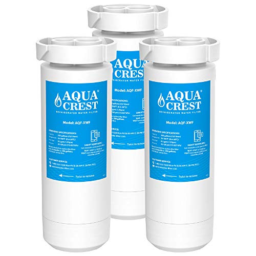 AQUACREST XWF Refrigerator Water Filter, Compatible with GE XWF, GE Refrigerator Models Starting with GBE21, GDE21, GDE25, GFE24, GFE26, GNE21, GNE25, GNE27, GWE19, GYE18, GSE25, GSS23 Pack of 3