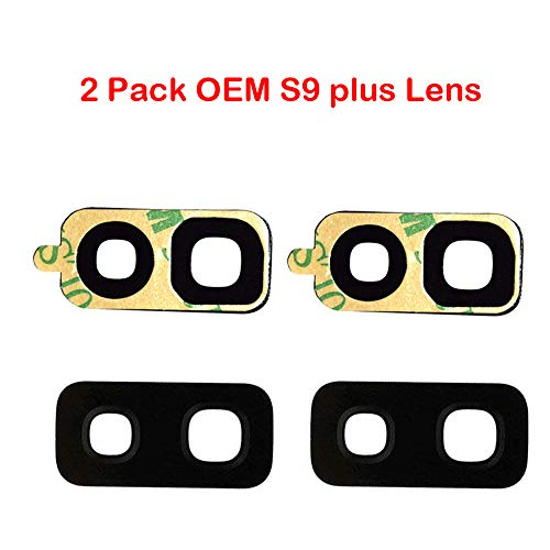 2 Pack OEM Samsung Back Rear Camera Glass Lens Replacement + Adhesive Preinstalled for Samsung Galaxy S9 Plus 965
