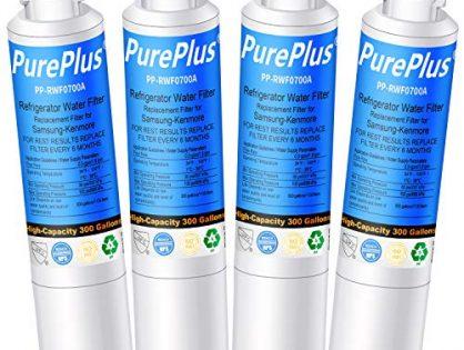 PUREPLUS DA29-00020B Refrigerator Water Filter, Replacement for Samsung DA29-00020A, HAF-CIN, HAF-CIN/EXP, DA97-08006A, Kenmore 469101, RF28HMEDBSR, RF4287HARS, RF263TEAESG, RH22H9010SR Pack of 4