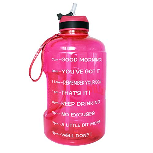 QuiFit Gallon Water Bottle with Straw and Motivational Time Marker BPA Free Easy Sipping 128/73/43 oz Large Reusable Sport Water Jug for Fitness and Outdoor Enthusiasts Hot Pink,1 Gallon