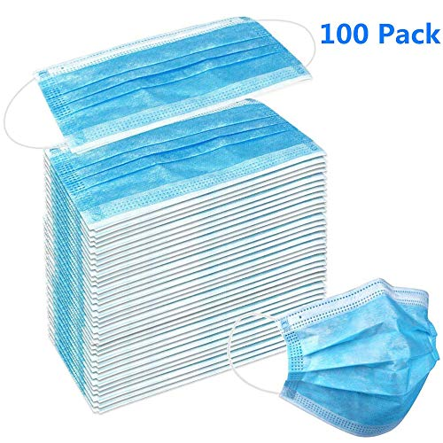 ⭐Futurelove⭐ 100 PCS Disposable Premium Earloop Face Masks, Medical Grade Face Mask,Hypoallergenic Thick 3-Ply Cotton Filter, Bacterial Filtration Over 99.5%,Protect Yourself from Dust, Flu and Pollen