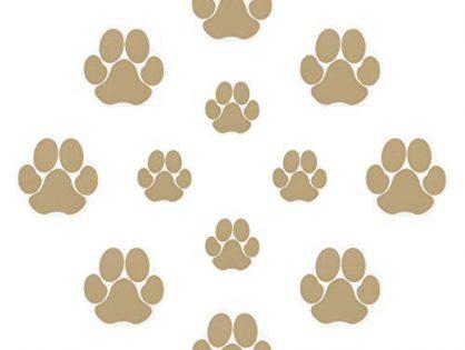 Ratgoo 12Pcs Dog Paw Footprint Non Slip Bathtub Stickers,Strong Adhesive Bathtub Appliques,Anti-Slip Bathtub Decals for Tub,Stairs,Kitchen,Shower Room,Treads,Bath Room,Floor,Swimming Pool.Khaki