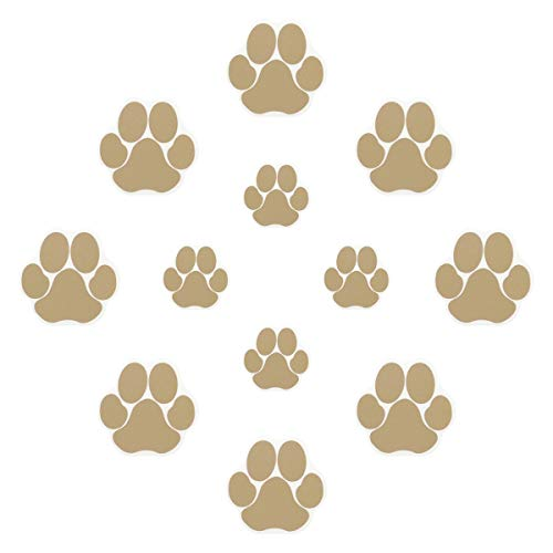 Ratgoo 12Pcs Dog Paw Footprint Non Slip Bathtub Stickers,Strong Adhesive Bathtub Appliques,Anti-Slip Bathtub Decals for Tub,Stairs,Kitchen,Shower Room,Treads,Bath Room,Floor,Swimming Pool.Khaki