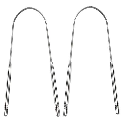 Tongue Scraper Cleaner for Adults Surgical Grade Stainless Steel Metal Tongue Brush Dental Kit Professional Eliminate Bad Breath With Non-synthetic Grip 2Pack