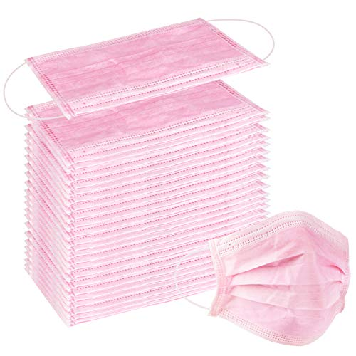 100 Pcs Disposable Earloop Face Masks Dental Surgical Hypoallergenic Breathability Comfort-Great for People with Allergies and The Flu Pink
