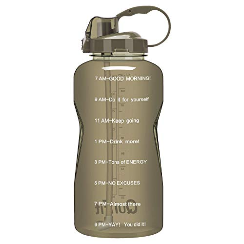 QuiFit Gallon Sport Water Bottle with Drinking Straw and Motivational Time Marker BPA Free Reusable 64/128 oz Large Capacity Ensure Your Daily Water IntakeWoods Man 64 oz