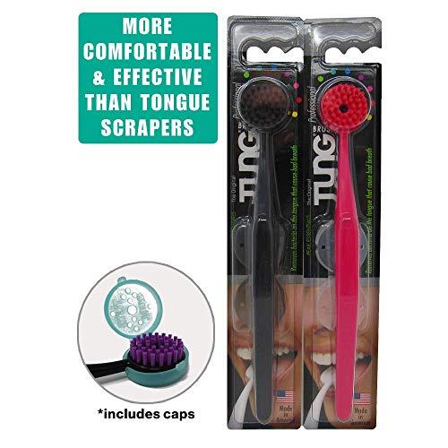Peak Essentials | The Original TUNG Brush Kits | Tongue Cleaner | Scraper | Scrubber | Odor Eliminator | Fight Bad Breath | Fresh Mint | BPA Free | Made in America | 2 Count w/Cap