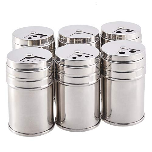 Salt and Pepper Shakers Stainless Steel Dredge Salt/Sugar/Spice/Pepper Shaker Seasoning Cans with Adjustable Pour Holes, Set of 6