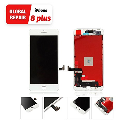 White for iPhone 8 Plus LCD Touch Screen Replacement from Global Repair Digitizer Screen Repair Tools Kit