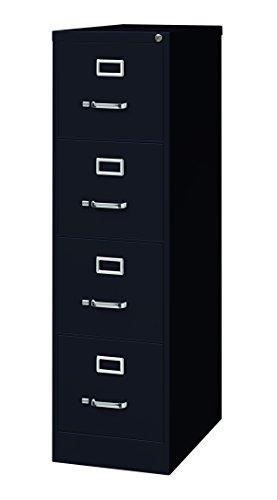 "Office Dimensions Commercial 4 Drawer Letter Width Vertical File Cabinet, 25"" Deep - Black"