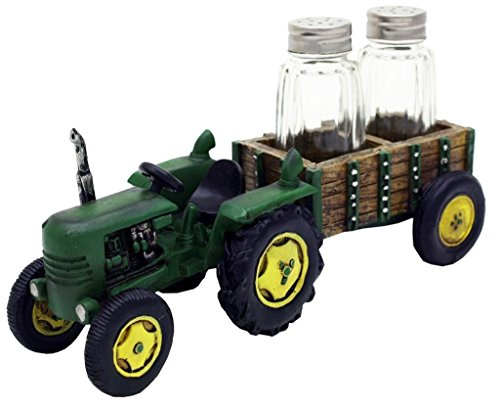 Green Tractor and Wagon Salt & Pepper Shaker Set - Farm Decor