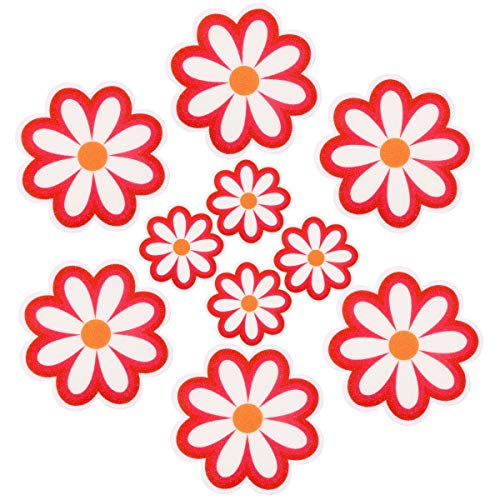 Pack of 10,Non Slip Bathtub Stickers,Adhesive Decals With Bright Colors,Ideal Large Appliques For Your family's Safety,Suit for Bath Tub,Stairs,Shower Room & Other Slippery Surfaces(Rose Red)
