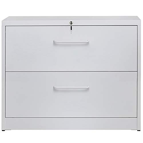 2 Drawers Lateral File Cabinet with Lock, Locking Metal Lateral Filing Cabinet for Home and Office
