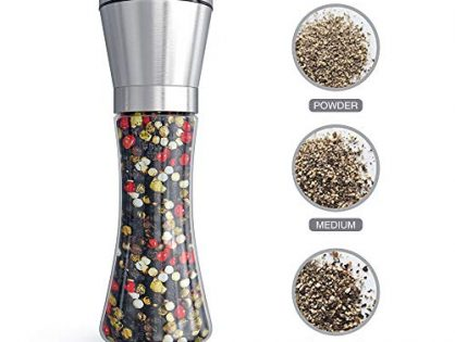 Tall Salt or Pepper Shakers with Adjustable Coarseness - Fsdifly Original Stainless Steel Salt or Pepper Grinder - Salt Grinders or Pepper Mill Shaker (Single Package) B