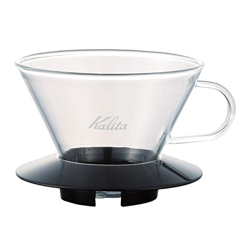 "Kalita 05039 Glass Wace Dripper 185 Black Coffee Dipper, 82 mm/3.2"", Clear"