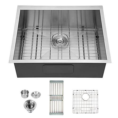 Logmey 25 Inch Undermount Sink Deep Single Bowl Sink 18 Gauge Stainless Steel Kitchen Sink