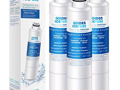 GOLDEN ICEPURE NSF 42 Certified DA29-00020B Refrigerator Water Filter, Compatible with Samsung DA29-00020B, DA29-00020A, DA97-08006A, HAF-CIN/EXP, 46-9101 Pack of 3