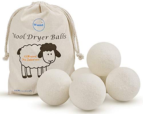Wool Dryer Balls 6-Pack XL Laundry Dryer Balls Reusable Natural Fabric Softener New Zealand Organic Wool Handmade Reduce Wrinkles & Shorten Drying Time by WANTELL White, XL