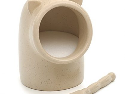 RSVP International OAT Stoneware Pig Keeper w/Spoon   Cute Addition to Your Kitchen   Holds 6 Ounces of Salt   Wide Opening for Easy Use   Dishwasher Safe, Oatmeal