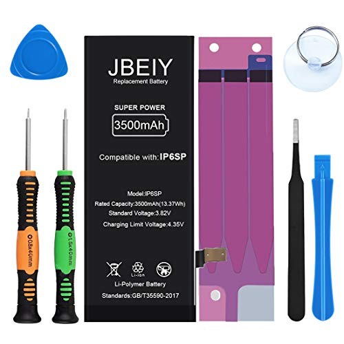 JBEIY 3500mAh Battery for iPhone 6S Plus, New Super High Capacity Replacement Battery, with Full Set of Repair Tools and Instructions- 1 Year Warranty