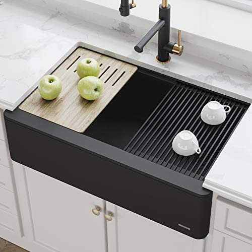 KRAUS KGF1-33Black Bellucci 33-inch CeramTek Granite Quartz Composite Farmhouse Flat Apron Front Single Bowl Kitchen Sink with Cutting Board in Black