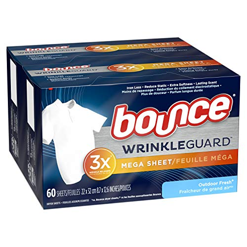 Bounce WrinkleGuard Mega Dryer Sheets, Fabric Softener and Wrinkle Releaser Sheets, Outdoor Fresh Scent, 120 Count Pack of 2, 60 Count Each