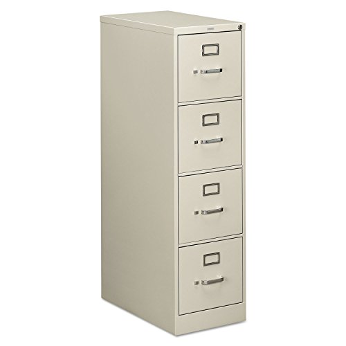 HON 4-Drawer Letter File - Full-Suspension Filing Cabinet with Lock, 52 by 25-Inch Light Gray H514