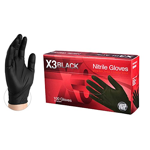 3 mil, Latex Free, Powder Free, Textured, Disposable, Medium, BX344100-BX, Box of 100 - Ammex X3 Industrial Black Nitrile Gloves