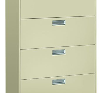 "The HON Company HON684LL HON 4-Drawer Office Cabinet-600 Series Lateral Legal or Letter File Cabinet, 19.75"" D, 4-Drawer Putty"