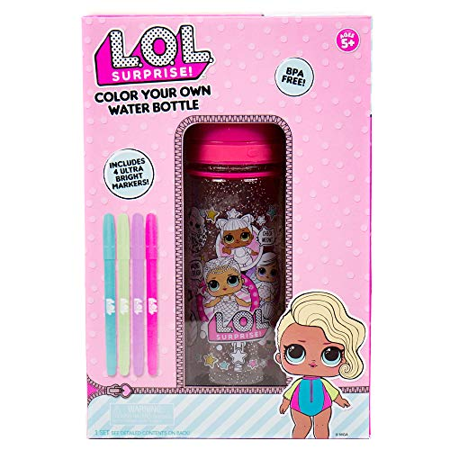L.O.L Surprise! Color Your Own Water Bottle by Horizon Group USA,DIY Bottle Coloring Craft Kit, BPA Free, Decorate Your Glitter Water Bottle with Colorful Markers & Gemstones, Multi Colored