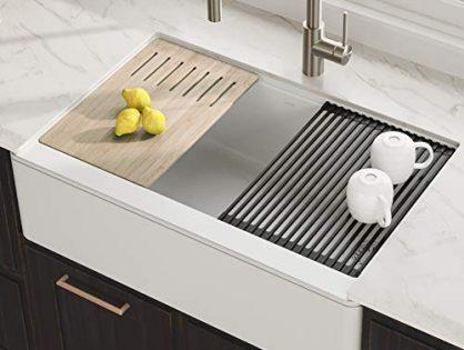 KRAUS Bellucci 33-inch CeramTek Granite Quartz Composite Farmhouse Flat Apron Front Single Bowl Kitchen Sink with Cutting Board in White