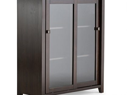 Simpli Home INT-AXCCOS-MED-CF Cosmopolitan Solid Wood 36 inch Wide Contemporary Medium Storage Cabinet in Coffee Brown