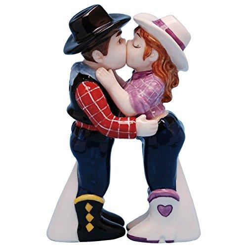 Westland Giftware Mwah! Cowboy and Cowgirl Magnetic Ceramic Salt & Pepper Shaker Set, Multicolor