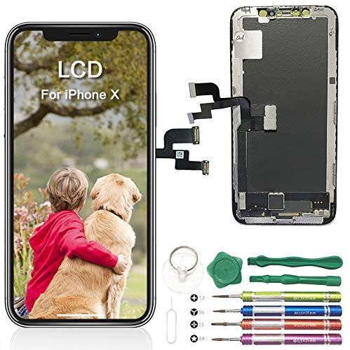 "Adorabae iPhone X Screen Replacement 5.8"" inch LCD OLED Pre-Installed Small Part Ear Mesh Camera & Sensor Holder Touch Screen Digitizer Full Assembly Kit with Repair Tools iPhone X LCD TFT"
