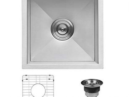 RVH7115 - Ruvati 15 x 15 inch Undermount 16 Gauge Zero Raduis Bar Prep Square Kitchen Sink Single Bowl