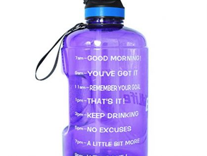QuiFit Gallon Water Bottle with Straw and Motivational Time Marker BPA Free Easy Sipping 128/73/43 oz Large Reusable Sport Water Jug for Fitness and Outdoor Enthusiasts Purple,1 Gallon
