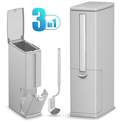 Nourimex Bathroom Trash Can and Toilet Brush Set Multifunctional Toilet Bowl Cleaner Round Brush and Holder / Plastic Bathroom Trash Can with Lid / Perfect for Small Spaces fits Small Bathroom Toilets