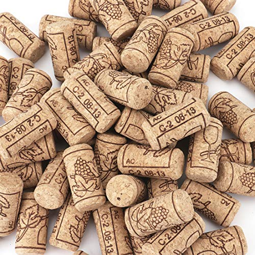 """100 Count - Tebery #8 Natural Wine Corks Premium Straight Cork Stopper 7/8"""" x 1 3/4"""", Excellent for Bottled Wine"""