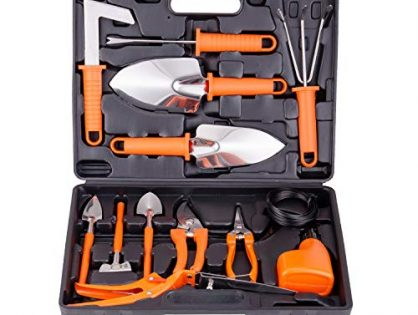 BNCHI Gardening Tools Set,14 Pieces Stainless Steel Garden Hand Tool, Gardening Gifts for Women,Men,Gardener Orange