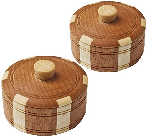 Natural Hard Wood Jars with Lids - Stylish Wooden Salt and Spice Containers, Set of 2 - Wooden Décor Box for Kitchen, Jewelry and Crafts. - Small Dry Herb Container and Moisture-proof Salt Cellar
