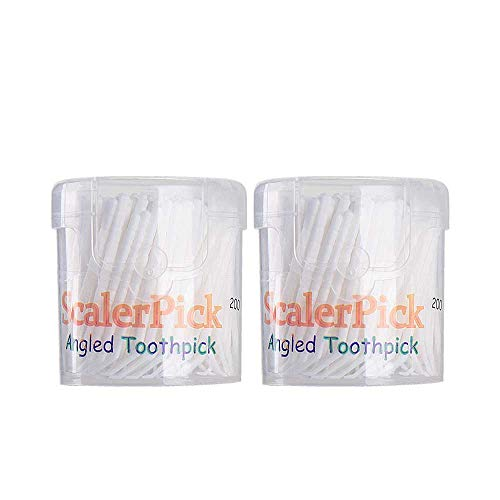 Angled toothpick Scalerpick White Plastic Household Teeth Cleaning Curved Hook 2 Bottle 400pieces
