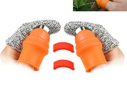 OFNMY 2-Pack Garden Silicone Thumb Knife Separator Finger Knife Harvesting Plant Knife Plant Gardening Gifts Trim Garden Vegetable Gardening ToolsLarge Silicone Thumb Knife