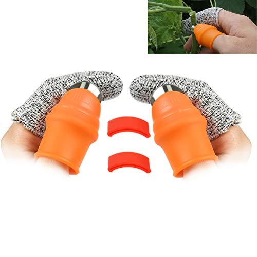 OFNMY 2-Pack Garden Silicone Thumb Knife Separator Finger Knife Harvesting Plant Knife Plant Gardening Gifts Trim Garden Vegetable Gardening ToolsLarge Silicone Thumb Knife